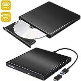 [2020最新型] dvdドライブ 外付け USB3.0 Type-C付 ポータブルCD DVD-RWドライブ スリムタイプ 読取・書込 Windows/Mac OS対応 書き込み