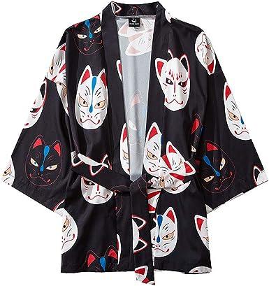 SoonerQuicker Camisas de Hombre Summer Japanese Five Point Sleeves Kimono para Hombre y para Mujer Capa Jacket Top Blusa T Shirt tee: Amazon.es: Ropa y accesorios