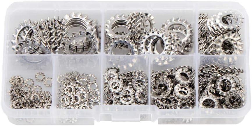WhyTin 300 piezas arandelas de bloqueo M2.5 M3 M4 M5 M6 M8 M10 M12 Kit de arandelas de bloqueo interno de dientes de estrella
