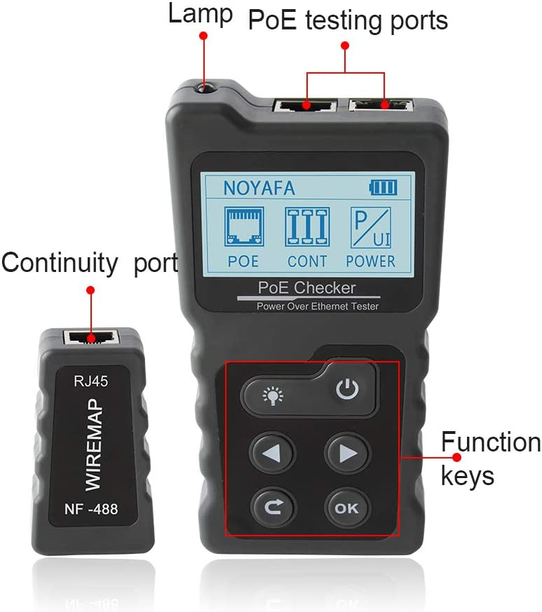 PoE Checker Tester Inline PoE Voltage Current Tester with Cable Tester NF-488