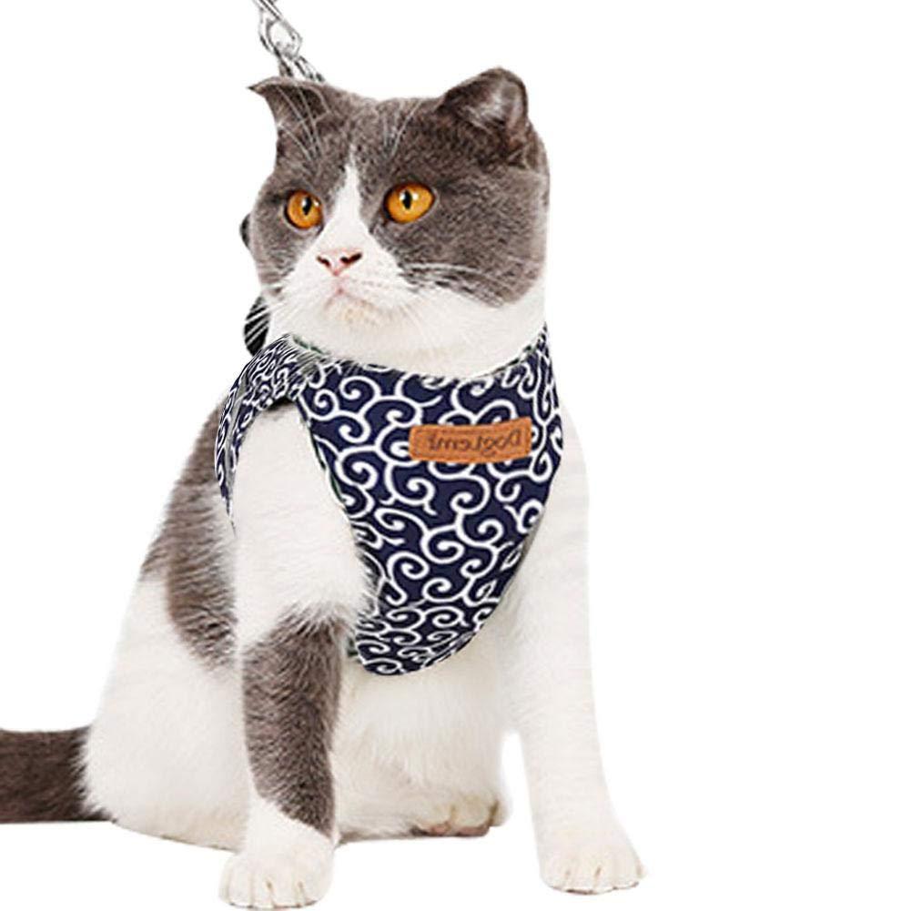 knowledgi Corda per Animali Domestici Corda di trazione Fionda per Gatti Guinzaglio del Gatto Cat Strap Anti Fuga Gilet di Gatto Morbido e Traspirante