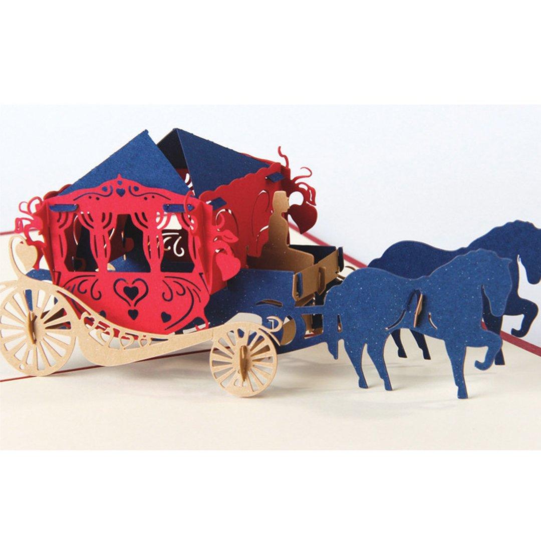 Amazon.com : Clara 3D Vintage Pop Up Wedding Invitation Carriage ...