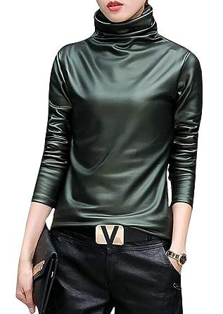 a534932ed00 SELX-Women Faux Leather Turtleneck Tops Long Sleeve Blouse T-Shirt