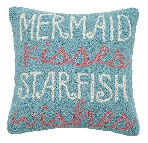(Peking Handicraft Mermaid Kisses Starfish Wishes Hook Pillow Turquoise)