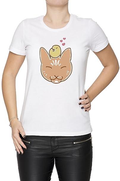 Gato Con Pájaro Mujer Camiseta Cuello Redondo Blanco Manga Corta Todos Los Tamaños Womens T-Shirt White All Sizes: Amazon.es: Ropa y accesorios