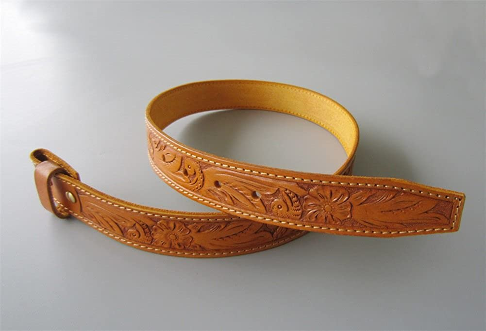L 45 inch 115 cm Hand Crafted Western Flowers Solid Real Leather Belt With Brass Screws