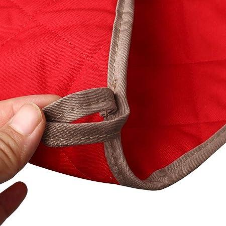 Extra Gruesos nuosen Guantes de algod/ón para Horno Resistentes al Calor de Gran tama/ño Color Rojo