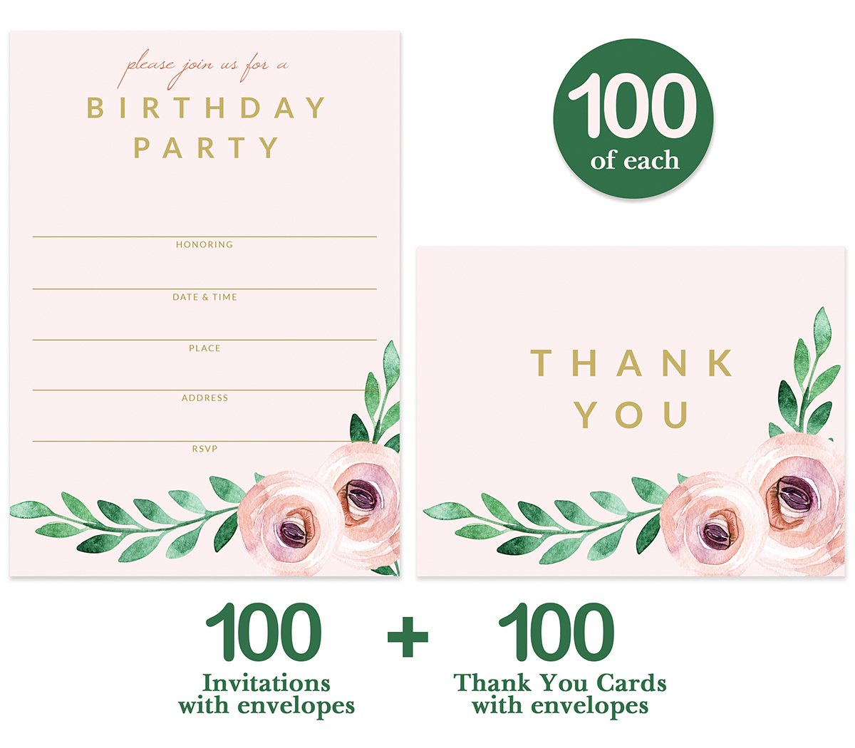 Birthday Party Invitations ( 100 ) & Matched Thank You Notes ( 100 ) Set with Envelopes, Great for Large Celebration Female Girl Young Woman Birthday Fill-in Invites & Blank Thank You Cards Best Value by Digibuddha (Image #2)