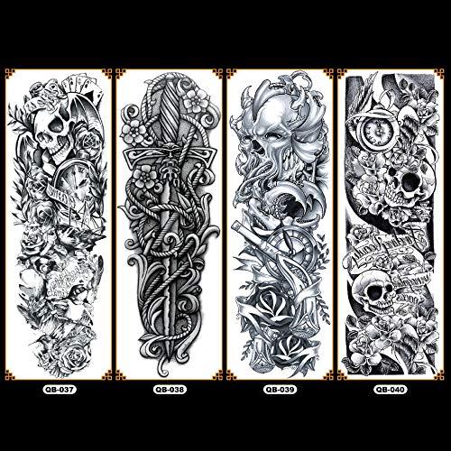 DGdolph QB Brazo Flor Tatuaje Pegatina Impermeable Tatuaje Temporal Manga Pintura Corporal QB-038