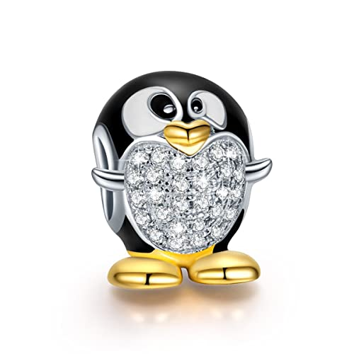 NinaQueen 925 Sterling Silver Gold Plated & Enamel Penguin Charms with Zirconia