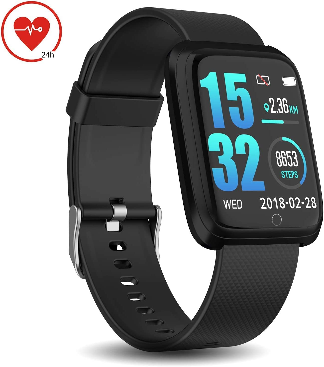 DoSmarter Fitness Tracker with Heart Rate Monitor, Waterproof Pedometer Running Watch with Step Counter, Sleep Monitor, Calorie Counter Compatible ...