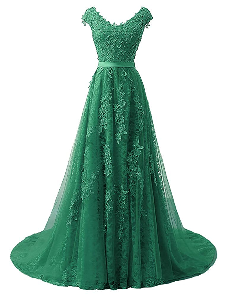 Dark Green Baixia Womens Tulle Lace Embroidery Prom Wedding Party Fromal Dresses