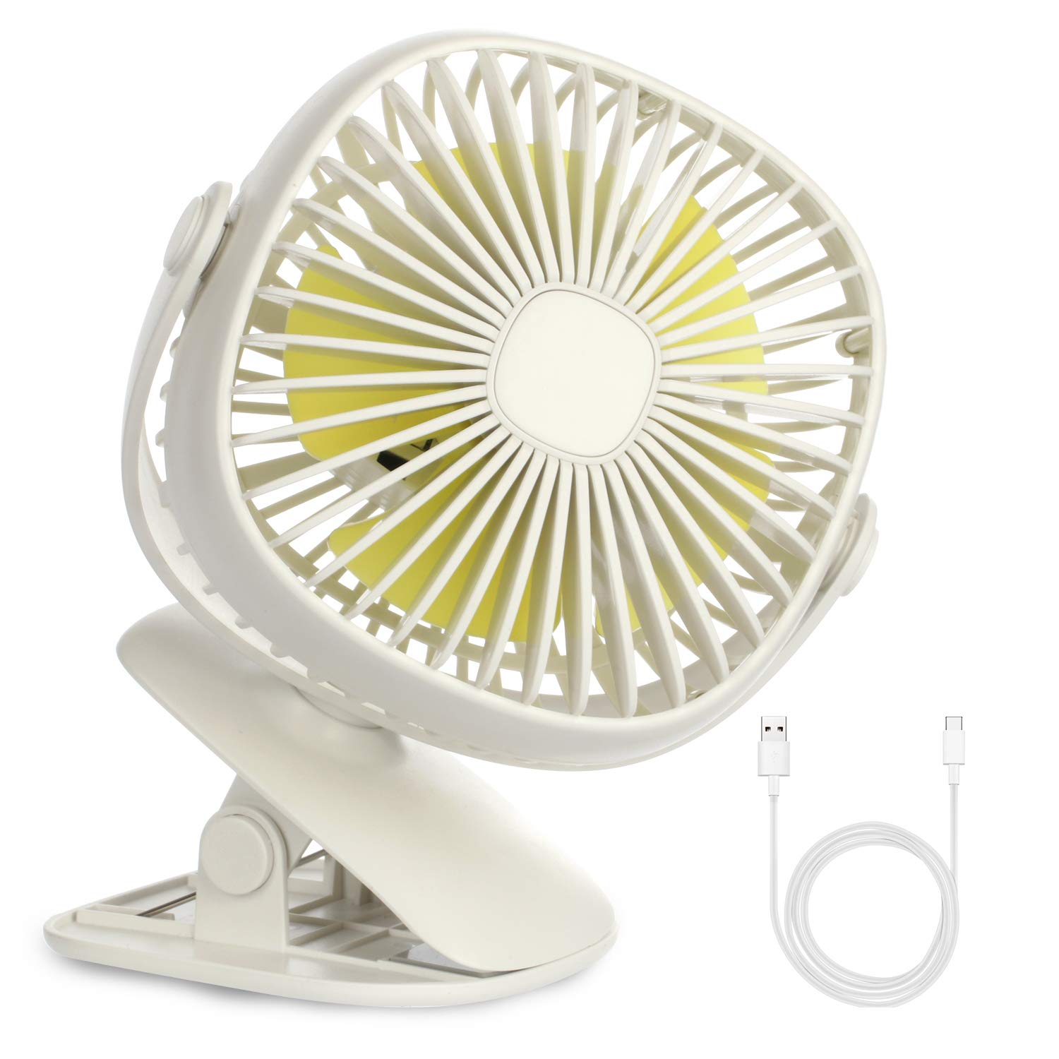 Baby Stroller USB Clip Fan with Night Light, 2 in 1 Desk Light Clip Fan,Rechargeable Mini Fan,2000mAh Battery ,360 Degrees Rotation Cooling Fan Powered Portable for Travel,Camping, Fishing,Home Office