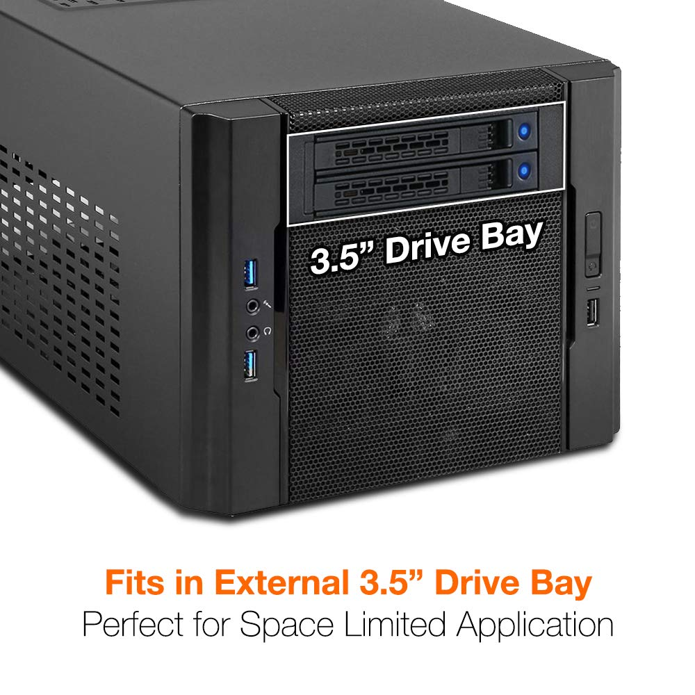 """ICY DOCK ExpressCage MB742SP-B Dual 2 x 2.5 HDD/SSD Drive Mobile Rack Cage Sled Caddy for External 3.5"""" Bay - Comparable to Tray-Less Design by ICY DOCK (Image #2)"""