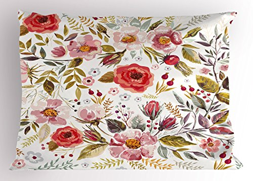 Floral Pillow Sham - Lunarable Vintage Pillow Sham, Floral Theme Hand Drawn Romantic Flowers and Leaves Illustration, Decorative Standard Size Printed Pillowcase, 26
