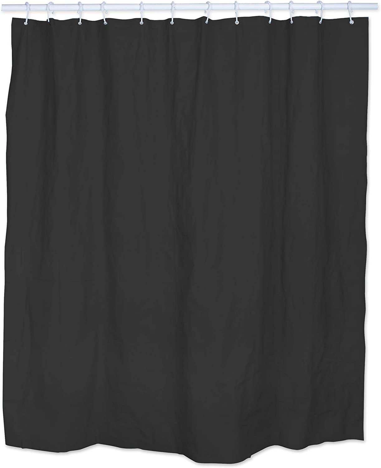 J & M Home Fashions Antibacterial and Mildew Resistant Shower Curtain, Liner, Black, Shower Curtain Liner