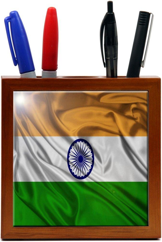 Rikki Knight 5-Inch India Flag Design Wooden Tile Pen Holder (RK-PH1719)