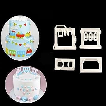 Yinew 4 Stk Zug Kunststoff Schneiden Form Zucker Kuchen Druck