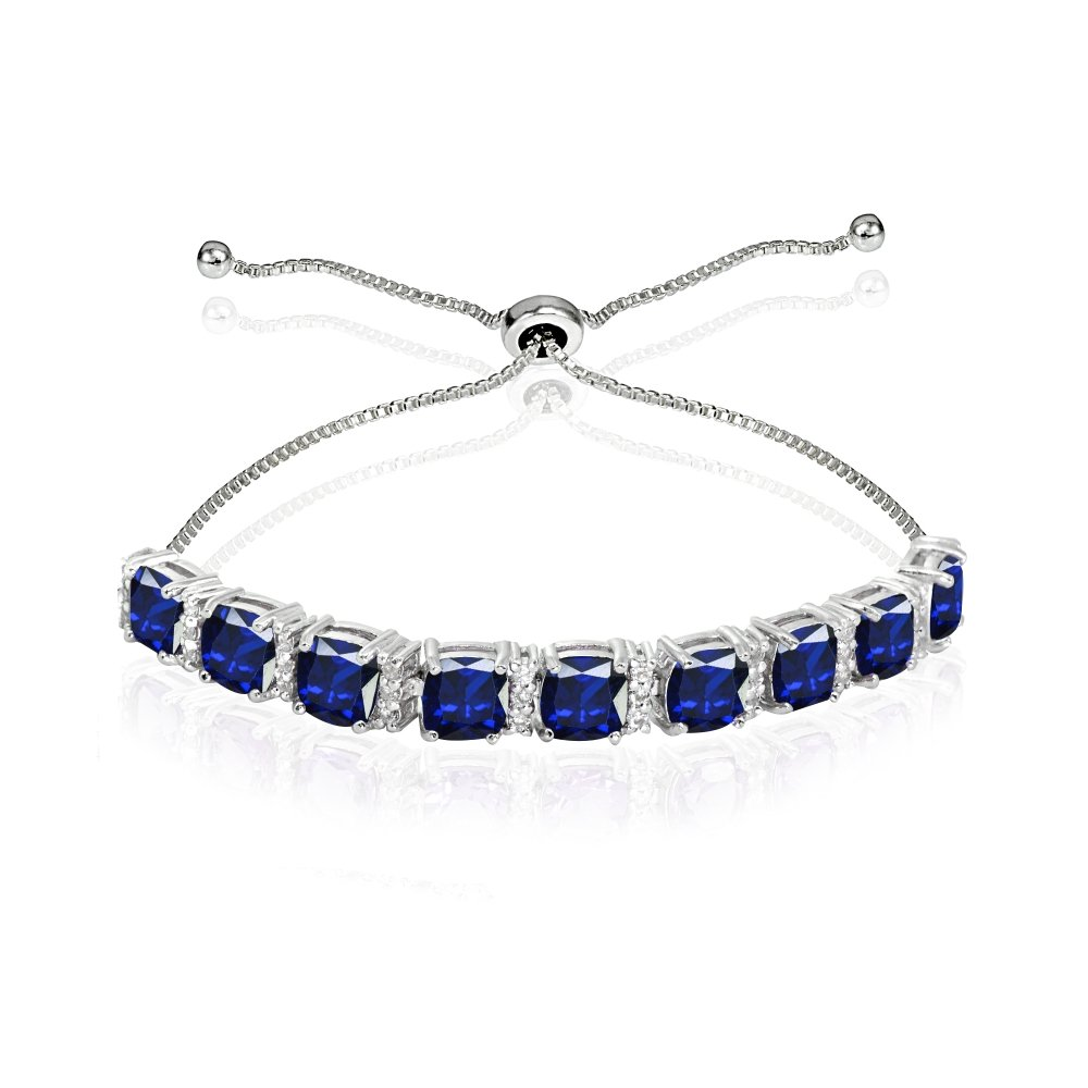 Sterling Silver Created Blue Sapphire & White Topaz Cushion-Cut Adjustable Tennis Style Bolo Bracelet for Women Teens Girls