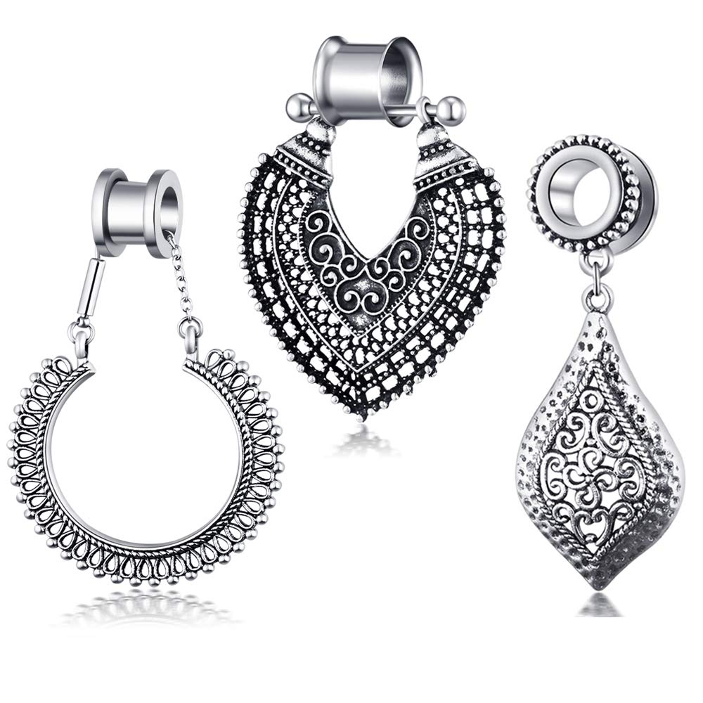 TIANCI FBYJS 3 Pair Stainless Steel Ear Gauges Flesh Tunnels Double Flared Ear Stretcher Saddle Dangle Plugs (10mm=00g)