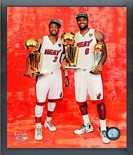 LeBron James & Dwyane Wade Miami Heat 2012 NBA Finals Championship and MVP Trophies Studio Photo (Size: 12