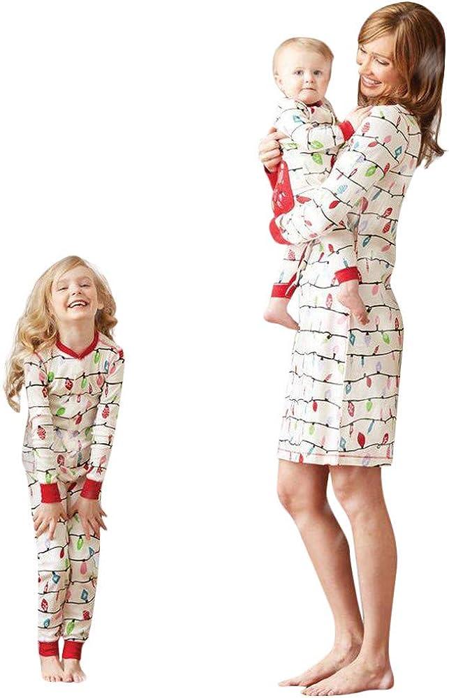 BaZhaHei Pigiama di Natale,Biancheria da Notte Famiglia Natale Pigiami Bambini Manica Lunga Magliette Pantaloni,Mamma Abito Indumenti da Notte,Infantile Romper Pigiami Interi,Xmas Family Outfits