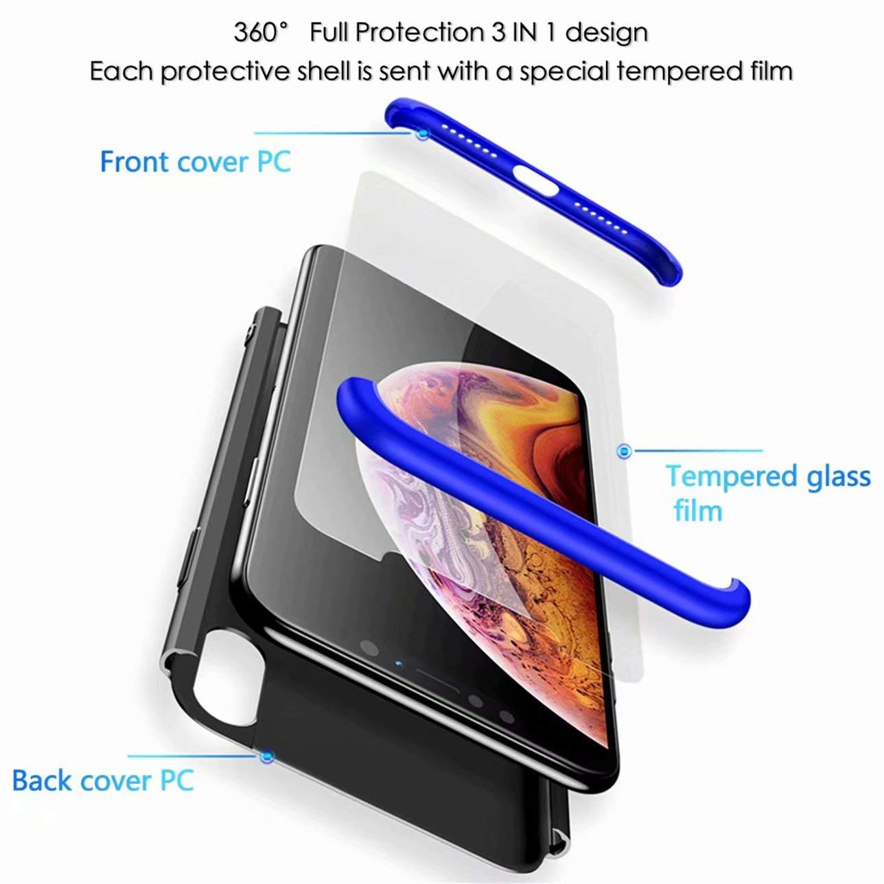 Laixin 360/° Full Body PC Protective Skin Cover with Tempered Glass Screen Protector Film Anti-fingerprint Shockproof Plastic Hard Phone Shell Blue /& Black Samsung Galaxy S8 Case