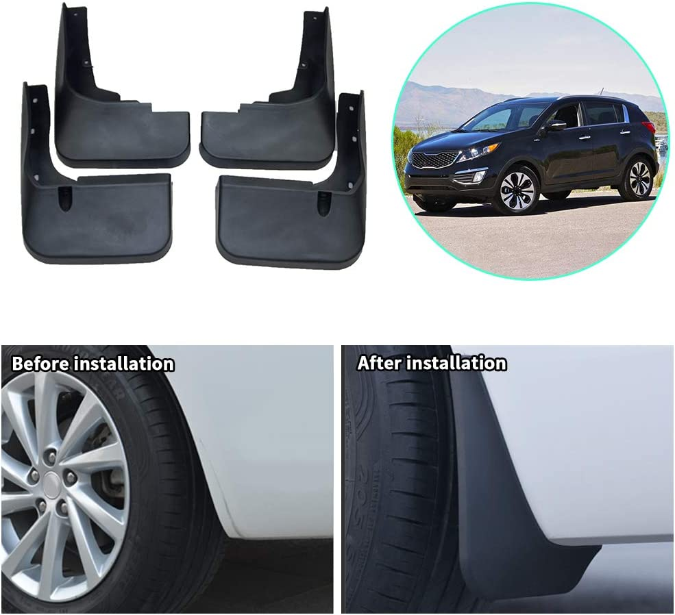 Upgraded Car Mud Flaps Mudguards for KIA CARENS Front Rear Splash Guards Car Fender Styling /& Body Fittings Black 4Pcs