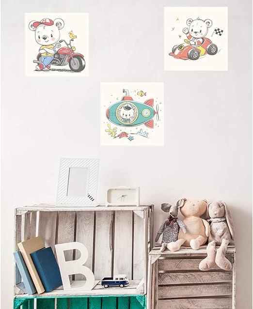 Pack de 3 Cuadros Infantiles Cartón Ecológico Ositos Pilotos | 40 x 40 cm | Decoración Habitación Diseño Elegante | Cantos Impresos |: Amazon.es: Hogar