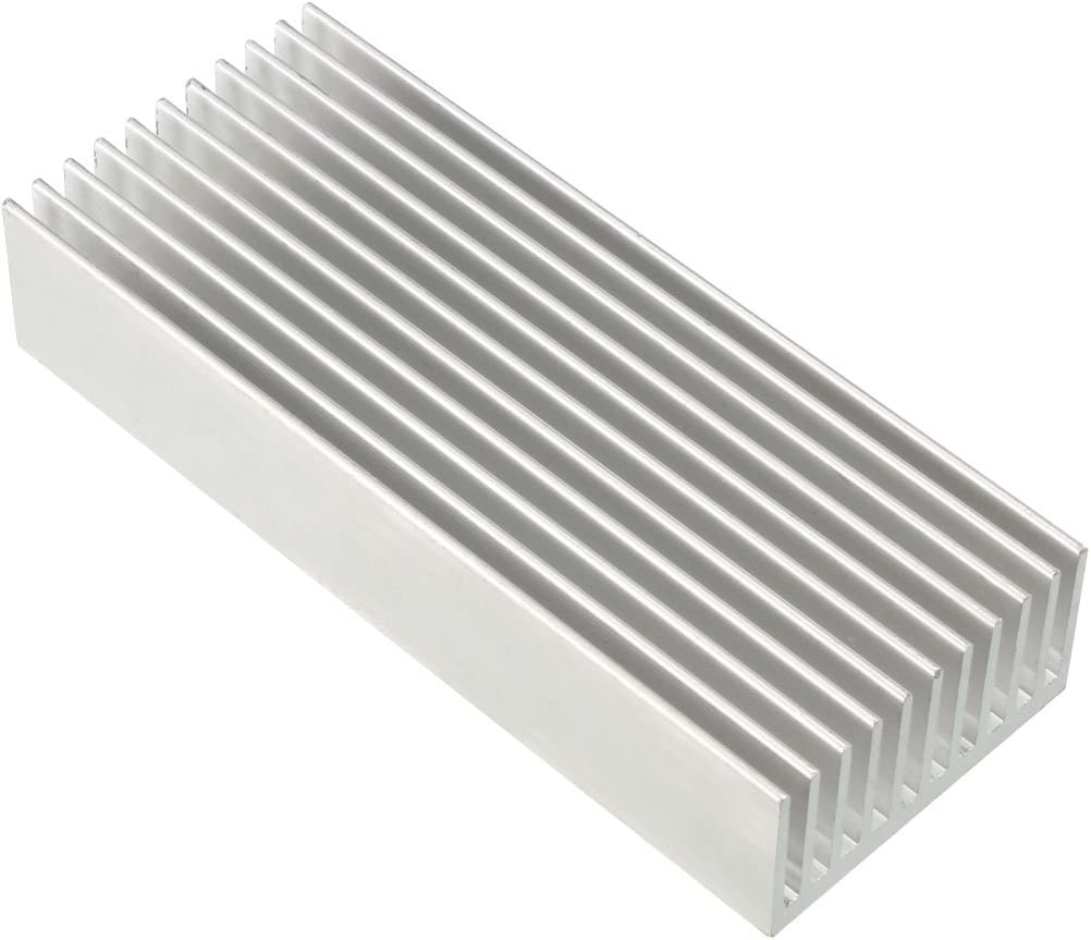 uxcell Aluminum Heatsink Cooler Circuit Board Cooling Fin Silver Tone 100mmx40mmx20mm for LED Semiconductor Integrated Circuit Device