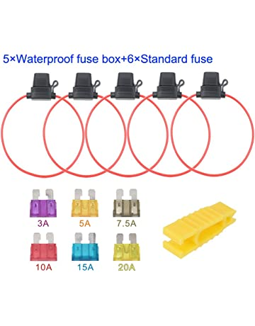 artgear 5pcs 32v 20a water-resistant fuse holder, 16 awg ato blade fuse  holder