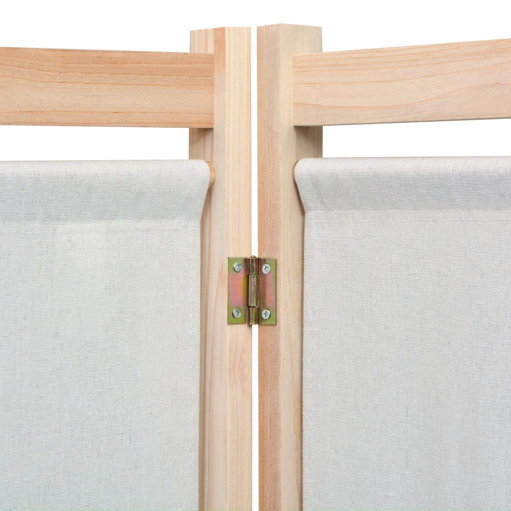 Salotto Camera da Letto SOULONG Paravento a 3 Pannelli Paravento Separ/è 3 Pannelli Struttura in Legno Massello di Pino Crema Divisorio Richiudibile Pieghevole da Interni 120x170x4 cm