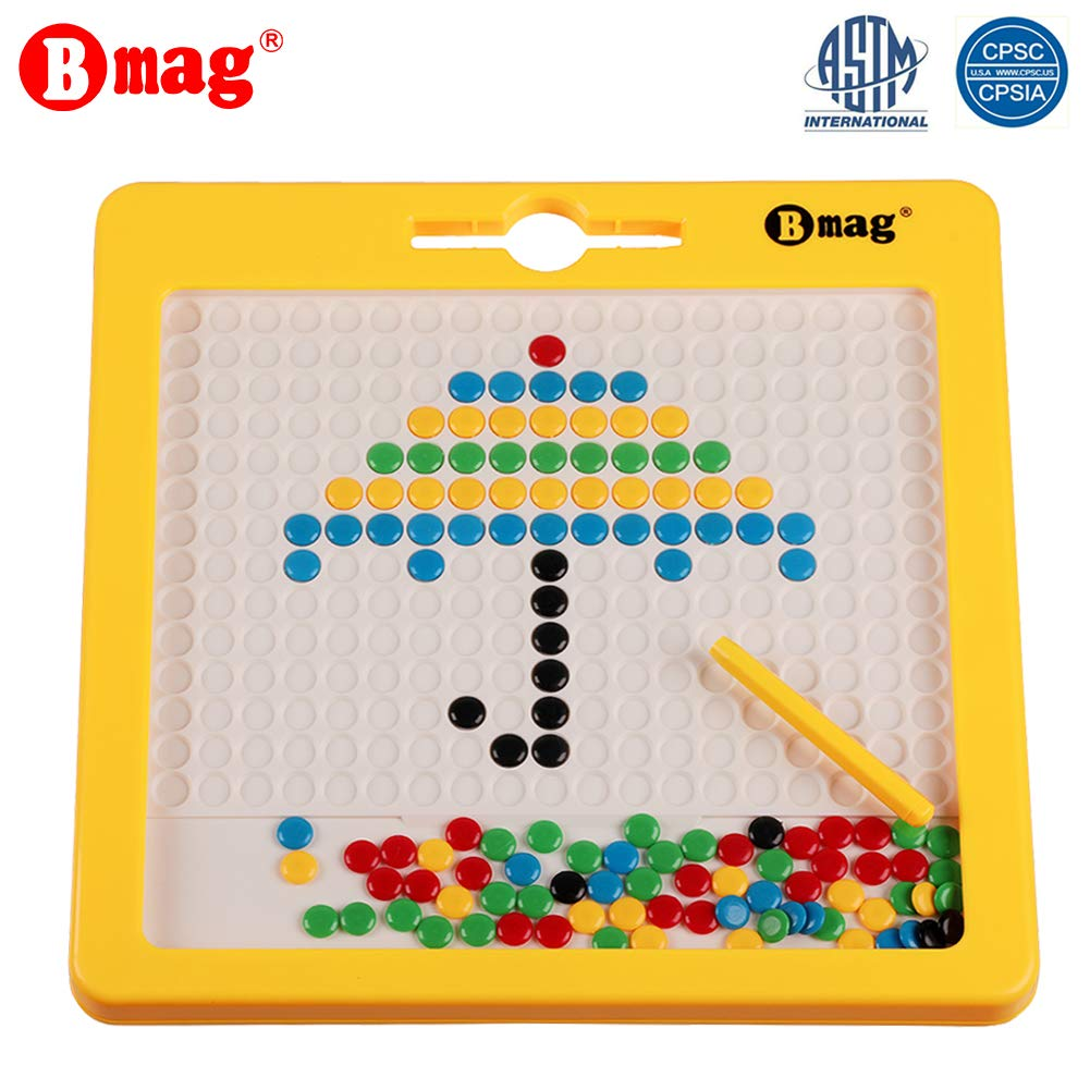 BMAG Magnetic Drawing Pad, Creative Doodle Board, Magnatab Toys, Magnetic M&M Dots Drawing Tablet, Educational Travel Doodle Toys for Toddler Kids Children (Large)