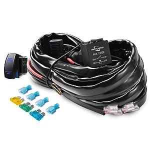 MICTUNING HD+ 12 Gauge 600W LED Light Bar Wiring Harness Kit w/ 60Amp Relay, 3 Free Fuse, Rocker Switch Blue(2 Lead)