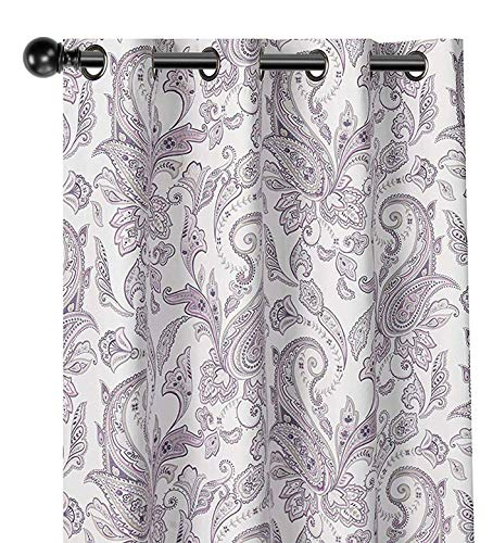 GoodGram 2 Pack 100% Blackout Insulated Thermal Grommet Top Paisley Designer Energy Saving Curtain Panels - Assorted Colors (Lilac Paisley) (Lilac Curtains White And)
