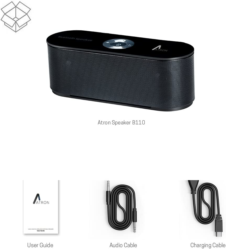 HD Sound and Bass for iPhone iPad Android Smartphone and More B110 ATRON Portable Wireless Bluetooth Speaker with Built-in-Mic Handsfree Call AUX Line microSD Black