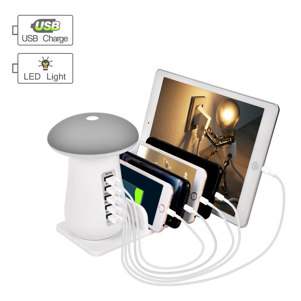 READ Fast Charging Station 5-Ports USB Wall Charger for IPhone and Android Phones with Led Night Light Multiple USB Charger Station
