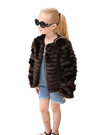 LLQ Abrigo para Niña Invierno Piel Abrigo Mangas Largas Pelo Ropa Niña Piel Chaqueta Invierno Pelo Chica Piel Abrigo (Negro): Amazon.es: Ropa y accesorios