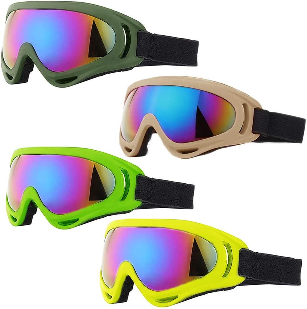 Peicees 4 Pack Winter Ski Goggles with UV400 Protection Adjustable Motorcycle Snow Goggles Tactical Glasses Windproof Sunglasses for Kids Boys Girls