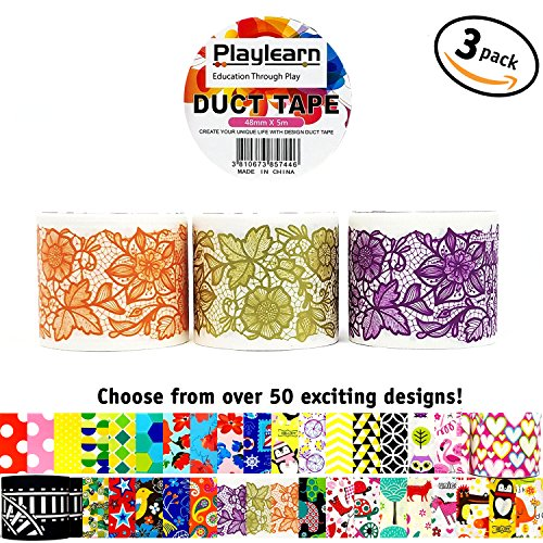 Design Duct Tape 48mm x 16 Feet - Kids Fun Extra Strong Printed Arts & Crafts Multi Pack - By Playlearn (Lace Ribbon) (Ribbon Printed Adhesive)