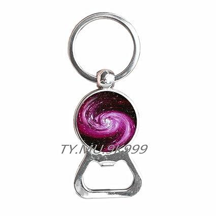 Abridor de botellas de galaxia en espiral, llavero, abrebotellas en espiral, diseño de