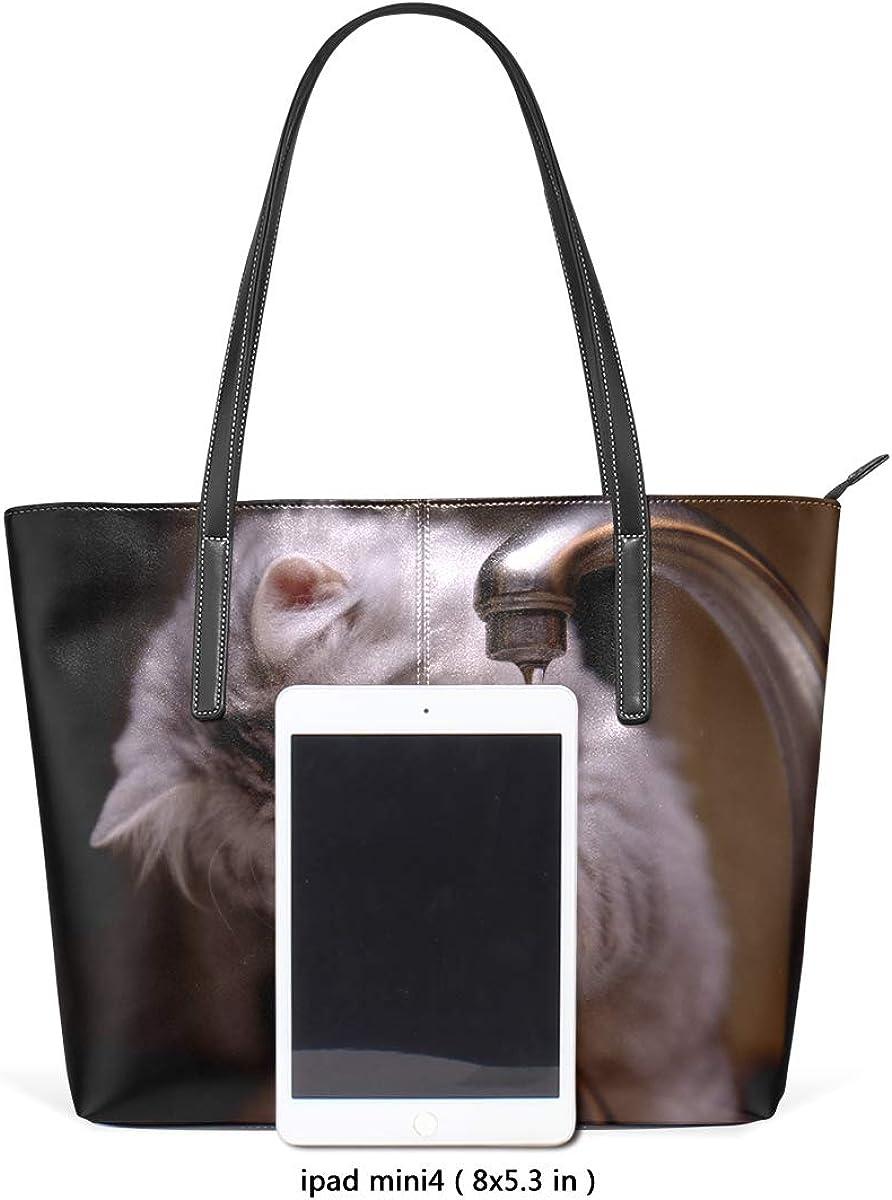 Womans Leather Tote Bag Water Cat Soft Capacity Shoulder Handbag