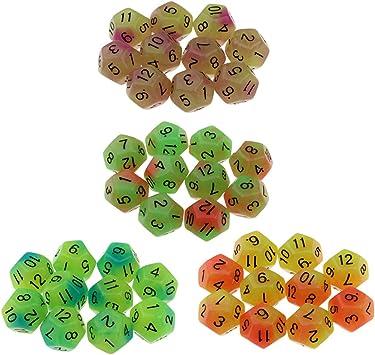 Hellery Juego De Dados De 12 Caras De 40 Piezas. Dados De 18 Mm para Juegos De Mesa Y Matemáticas De Enseñanza.: Amazon.es: Juguetes y juegos