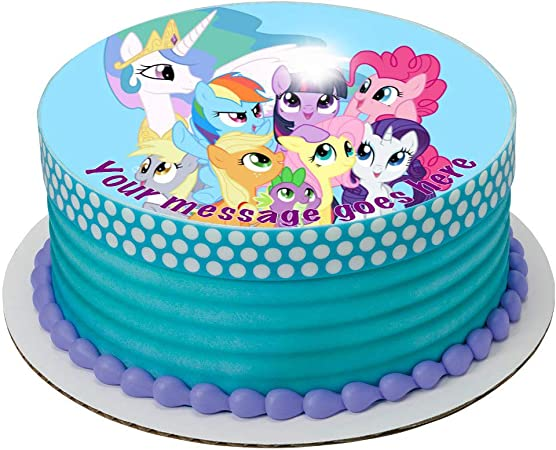 Terrific My Little Pony 19 Cm Round Fondant Icing Edible Cake Topper And Personalised Birthday Cards Beptaeletsinfo