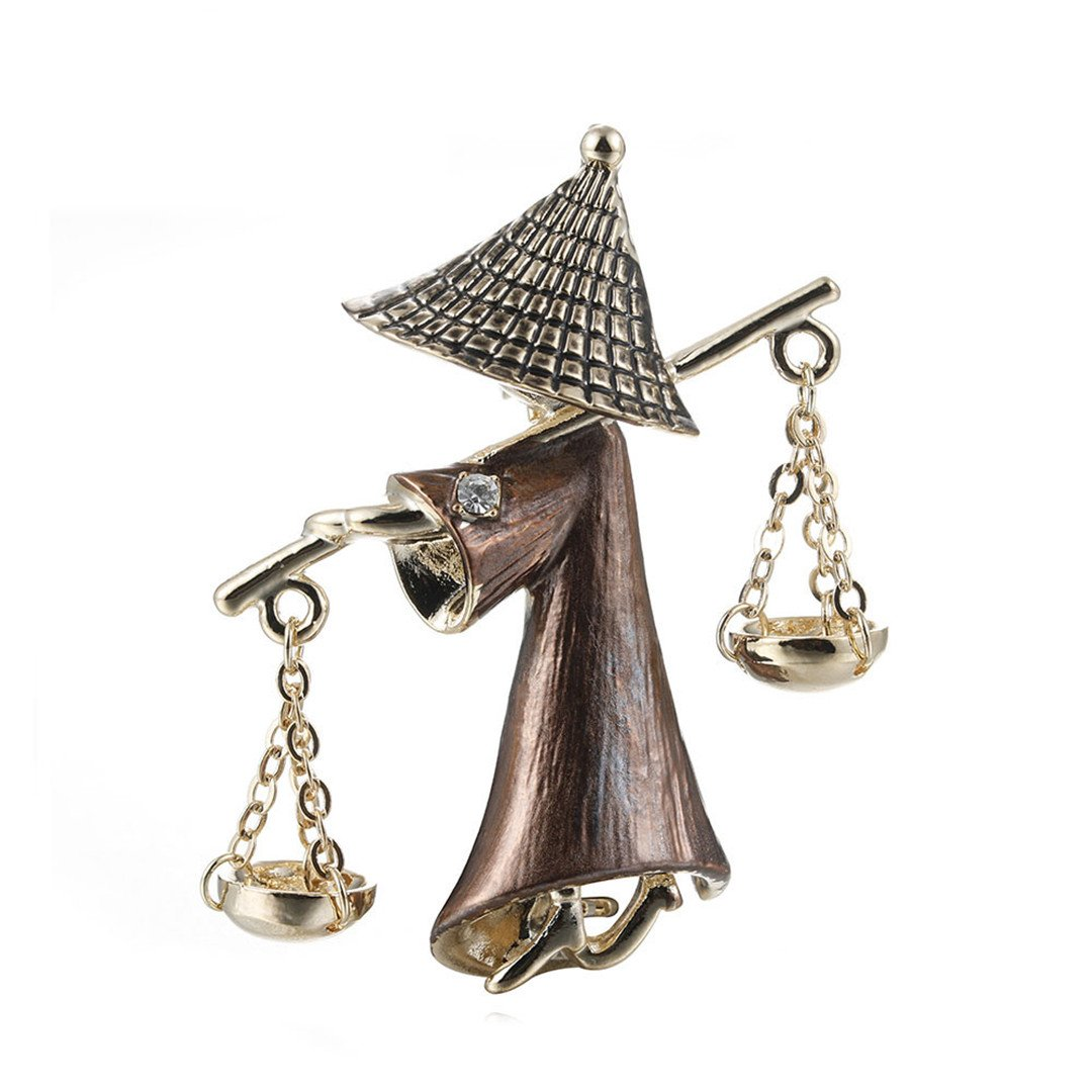 Cute Mr Hat Ancient Businessman Shape Brooches Jewelry Gold-Color Alloy Pins For Kids Women Clothes Clips Accessories CC18428A