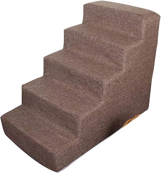Bseack_store Ligera rampa de Escalera P 5 Pasos extraíble Lavable Cubierta de Tela Plegable for Mascotas Escaleras Esponja Revestimiento Adecuado for pequeñas y Medianas Mascotas (Color : Brown): Amazon.es: Hogar