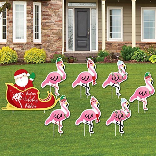 (Flamingle Bells - Yard Sign & Outdoor Lawn Decorations - Tropical Flamingo Christmas Yard Signs - Set of 8)