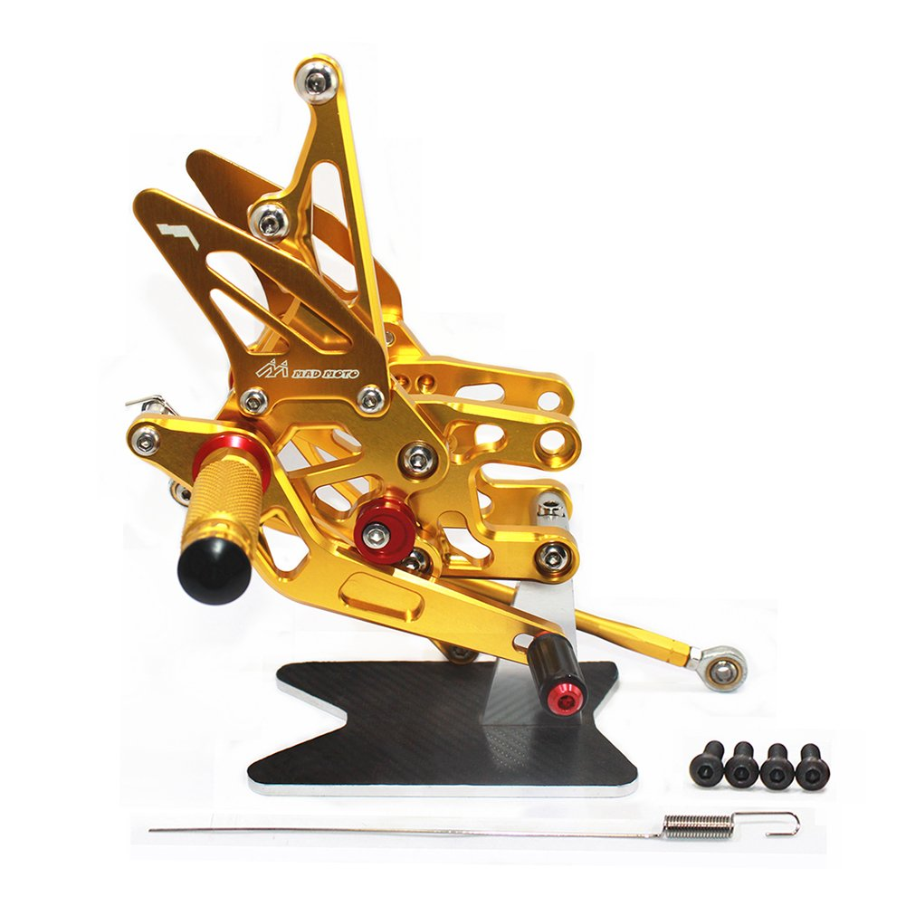 MADRACING 04-07 CBR1000RR 03-06 CBR600RR Motorbike Adjustable Rearsets CNC Aluminum Gold