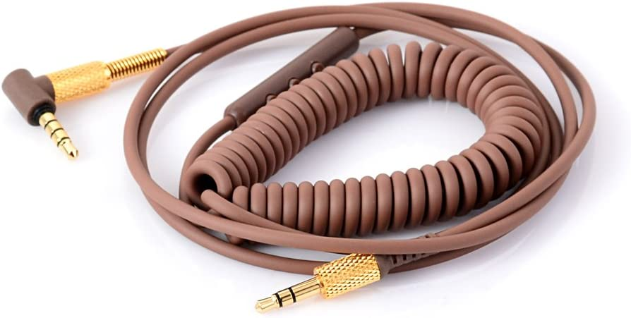 Black Rhinenet Replacement Extension Coiled Audio Cable for Marshall Major II Monitor Headphone Cords /& Mic Volume Control for iphone Samsung
