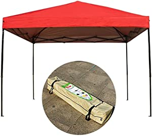 ZHAS Garden Parasols Gazebo 10 x 10' Canopy Tent Shelter,Instant Shade, Outdoor Pop-Up Portable Shade Instant Folding Canopy (Color : Red)